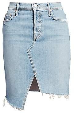 Mother Women's Tomcat Slide Fray Denim Pencil Skirt