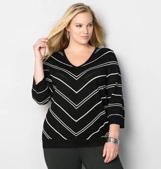 Avenue Mitered Pick Stitch Pullover in Black