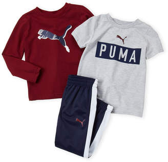 Puma Boys 4-7) 3-Piece Logo Long Sleeve Tee & Joggers Set