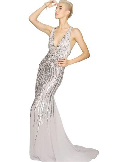 Roberto Cavalli Embellished Silk Georgette Long Dress
