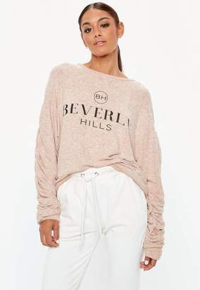 Missguided Pink Beverly Hills Graphic Brushed Sweatshirt
