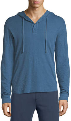 Vince Double-Knit Hooded Henley T-Shirt