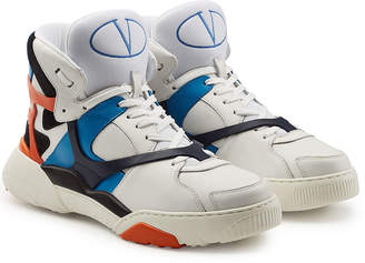Valentino B Ball Leather High-Top Sneakers