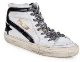Golden Goose Superstar Distressed Leather High-Top Sneakers