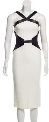 David Koma Leather-Trimmed Midi Dress