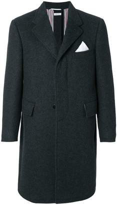 Thom Browne Button-Back Solid Military Cashmere Chesterfield Overcoat