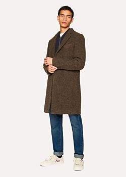 Paul Smith Men's Brown Textured Wool-Blend Overcoat