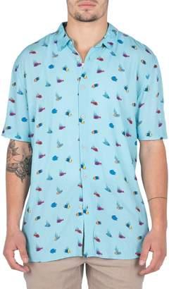 Barney Cools Holiday Fish Print Shirt