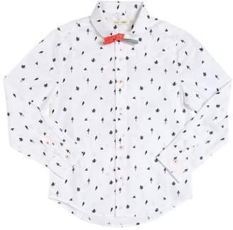 Sea Print Cotton Poplin Shirt W/ Bow Tie