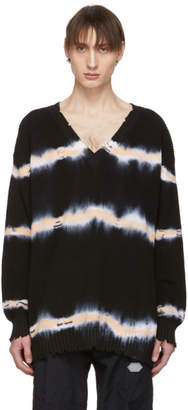 MSGM Black Tie-Dye V-Neck Sweater