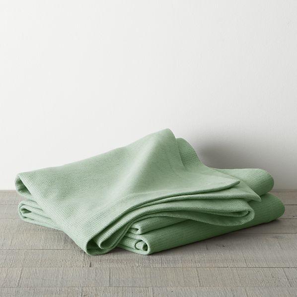 Crate & Barrel Geneva Green Twin Blanket.