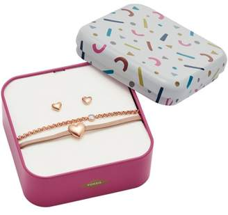 Fossil Heart Rose Gold-Tone Stainless Steel Studs And Bracelet Box Set jewelry