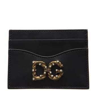 Dolce & Gabbana Girls Black Leather Credit Card Holder