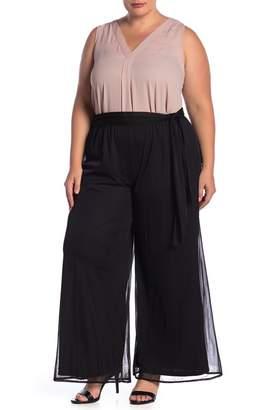 Marina Matte Chiffon Wide Leg Pants (Plus Size)