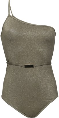Diane von Furstenberg West One-shoulder Metallic Swimsuit
