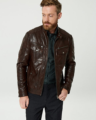 Le Château Faux Leather Slim Fit Motorcycle Jacket