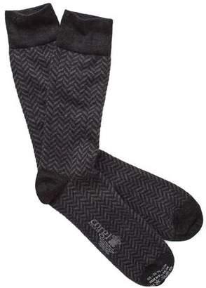 Corgi Herringbone Socks in Charcoal