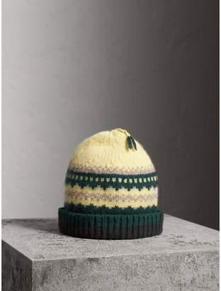 Burberry Fair Isle Cashmere Wool Blend Beanie