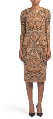Feather Scroll Midi Dress