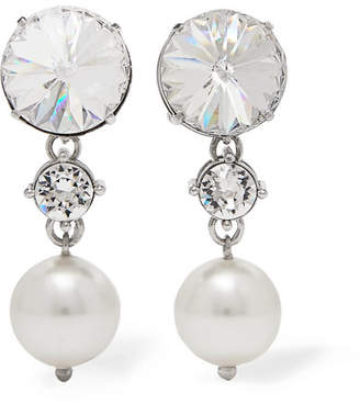 Miu Silver Tone Crystal And Faux Pearl Clip Earrings One Size