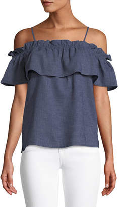 Splendid Cold-Shoulder Ruffle Chambray Top