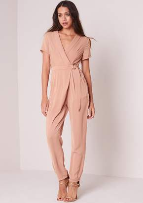 134a3ac3b6 at Missy Empire · Missy Empire Missyempire Juni Camel Short Sleeved D-Ring  Wrap Jumpsuit