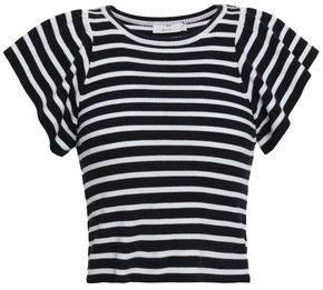 A.L.C. Striped Ribbed Merino Wool-blend Top