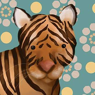 Oopsy Daisy Fine Art For Kids Aaron The Tiger by Meghann O'Hara Canvas Wall Art, 10 by 10-Inch