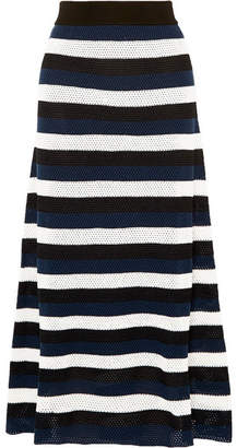 Sonia Rykiel Striped Open-knit Wool-blend Midi Skirt - Blue