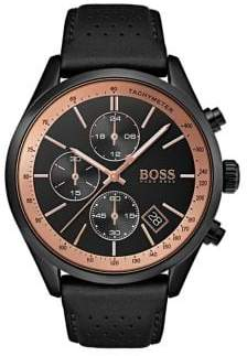 HUGO BOSS Grand Prix Stainless Steel Leather-Strap Watch
