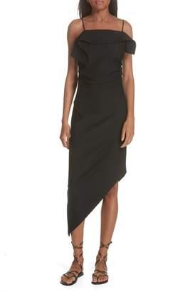 Helmut Lang Ruffle Neck Asymmetrical Dress