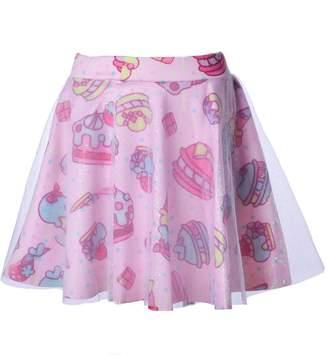Focal18 Gauze Double Layer Lolita Tutu Skirt Mini Dress Cake Ice Cream Print