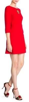Dolce & Gabbana Three-Quarter Sleeve Embellished Heart Wool Dress