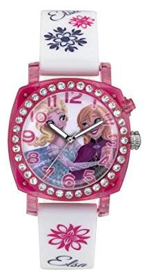 Disney Frozen Children's Quartz Watch with Multicolour Dial Analogue Display and White Rubber Strap FZN3789
