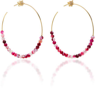 Diane Kordas Explosion Motif Hoop Pink Agate Bead Earrings