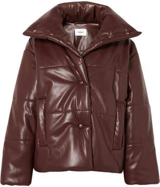 Nanushka Hide Oversized Quilted Vegan Faux Leather Jacket - Plum