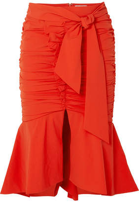 Rebecca Vallance Brescia Ruched Poplin Midi Skirt - Orange