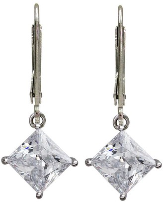 Diamonique Princess Cut Lever Back Earrings, Platinum Clad