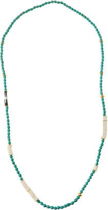 Akola Long Paper, Bone & Brass Beaded Necklace, Light Teal