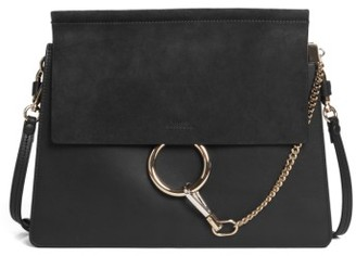 Chloe Faye Suede & Leather Shoulder Bag - Black $1,950 thestylecure.com