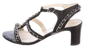 Chanel CC Leather Chain-Link Sandals