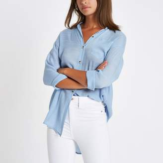 River Island Womens Blue longline long sleeve shirt