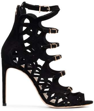 Sophia Webster Black Gia 100 Suede Sandals