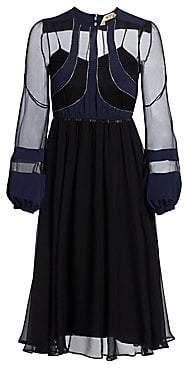 No.21 No. 21 No. 21 Women's Long-Sleeve Silk-Blend A-Line Dress