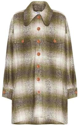 Mohair-blend plaid coat