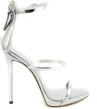 Giuseppe Zanotti Mirrored Silver Leather Sandal With Three Straps