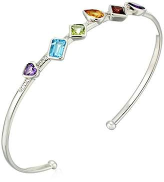 Rhodium Plated Sterling Multi-Gemstones Multi-Shapes Diamond Accent Cuff Bracelet