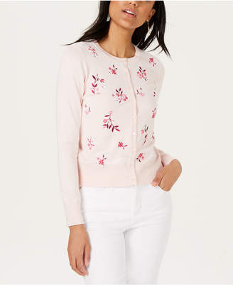 Charter Club Long-Sleeve Floral-Embroidered Cardigan