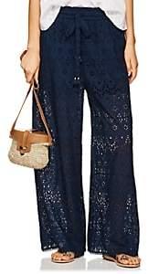 Zimmermann Women's Castile Cotton-Silk Eyelet Wide-Leg Pants - Navy