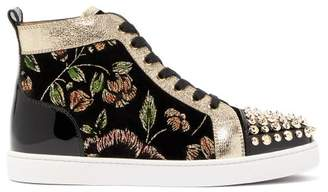 Christian Louboutin Lou Spikes Glitter Flower Velvet High Top Trainers - Womens - Black Multi